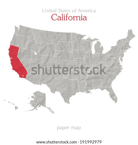 California and United States map outline  - stock vector