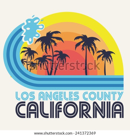 California beach typography, t-shirt graphics, vectors - stock vector
