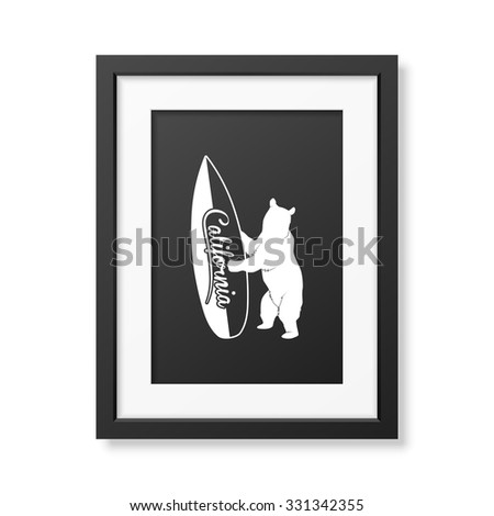 California bear holding a surfboard - Background in realistic square black frame on white background. Vector EPS10 illustration.  - stock vector