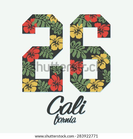 California flowers hibiscus typography, t-shirt graphics, vectors, girl - stock vector
