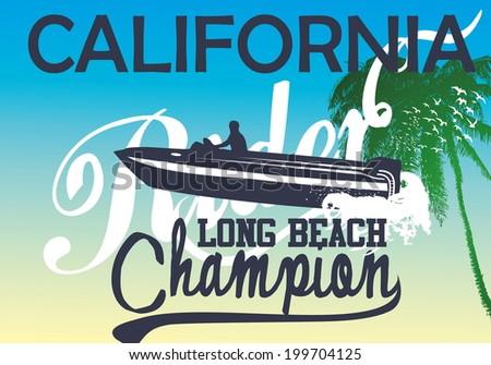 california long beach and boat vector art - stock vector