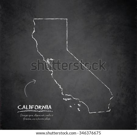 California map blackboard chalkboard vector - stock vector