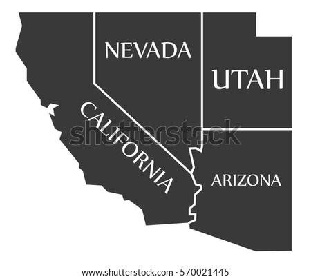 california nevada utah arizona map labelled black illustration
