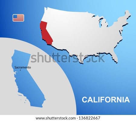 California on USA map with map of the state