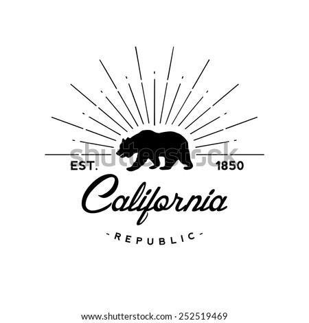 California republic retro emblem - stock vector