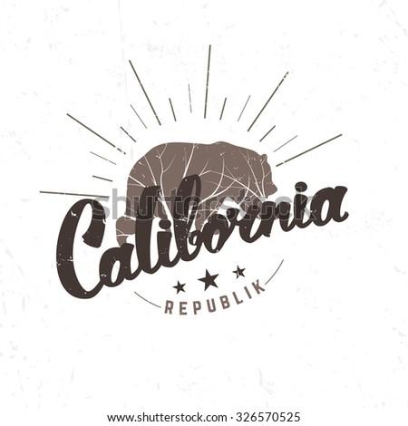 California Republic retro emblem. Hand drawn lettering design element. - stock vector