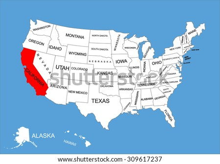 California State Usa Vector Map Isolated Stock Vector - California united states map