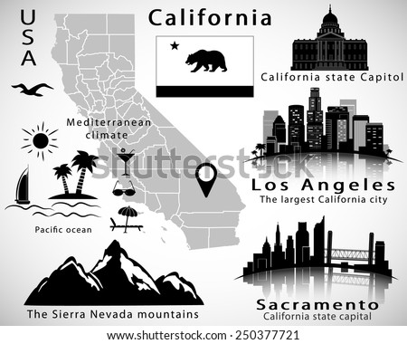 California state vector set: city skylines, icons, map, flag - stock vector