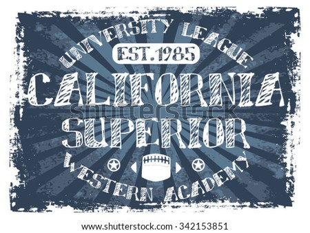 California Superior vector print and varsity. For t-shirt or other uses in vector.