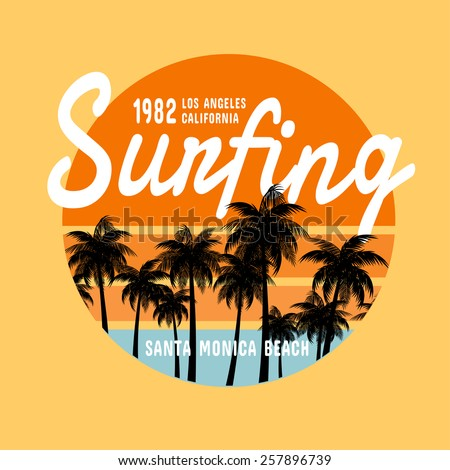 California surf   illustration, vectors, t-shirt graphics - stock vector