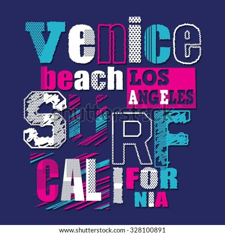 California surf typograhy, t-shirt graphics, vectors - stock vector