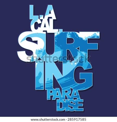 California surf typography,; t-shirt graphics, vectors - stock vector
