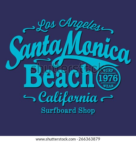 California surf  typography, t-shirt graphics, vectors, sport  - stock vector