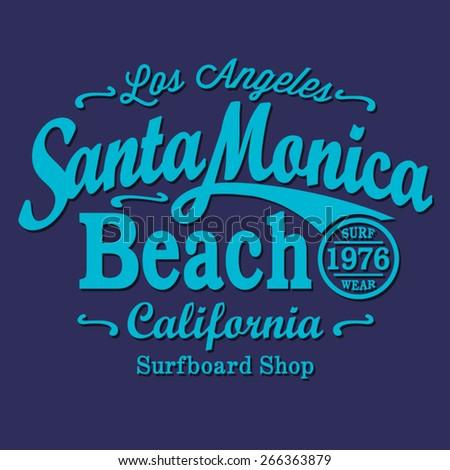 California surf  typography, t-shirt graphics, vectors, sport  - stock vector