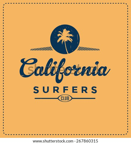 California Surfers Club - Typographic Design - Classic look ideal for screen print shirt design - stock vector