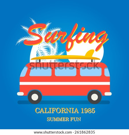 California surfing typography, t-shirt graphics, vector illustration. With palm silhouettes,  sun, surfboards and old retro van  - stock vector