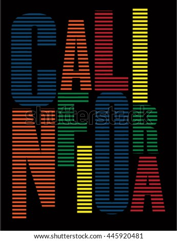 california typography, t-shirt graphic, vectors