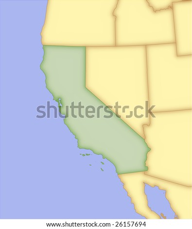 California, vector map, with borders of surrounding states. 5 named layers, fully editable. - stock vector