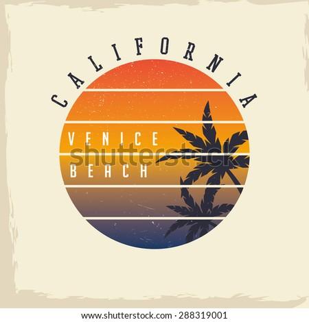 California Venice Beach. T-shirt graphics. - stock vector
