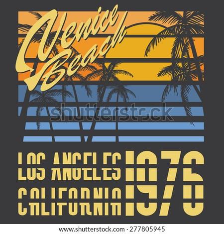 California Venice beach typography, t-shirt Printing design, Summer vector Badge Label. - stock vector