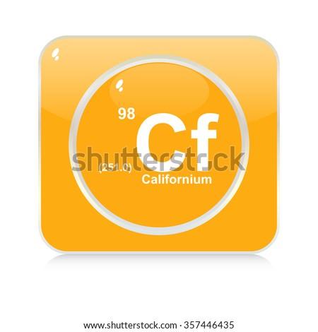 californium chemical element button - stock vector