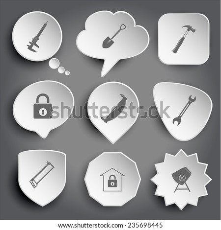 caliper, spade, hammer, closed lock, two-handled saw, spanner, hacksaw, bank, concrete mixer. White vector buttons on gray. - stock vector