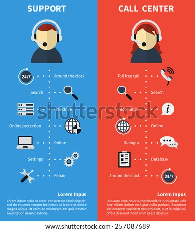 Call center and support banners. Consultation and free call and operator. Technical assistance and information. Vector illustration - stock vector