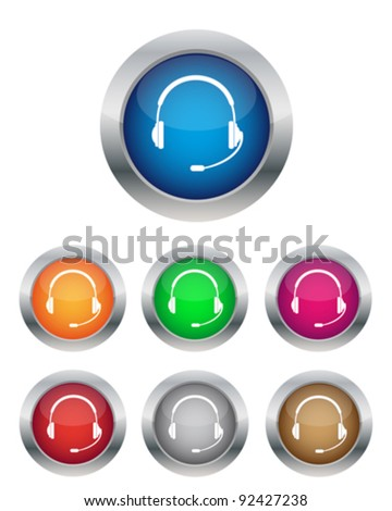 Call center buttons in various colors - stock vector
