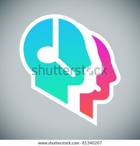 Call center coloured sign: three head profile silhouettes with headsets on grey background - stock vector