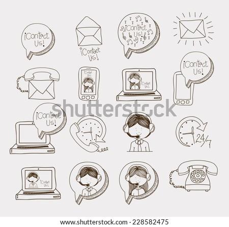 Call center design over white background,vector illustration - stock vector