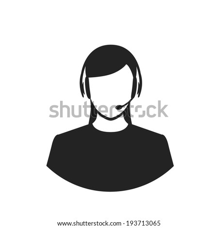 call center female operator with headset black flat style web icon. vector illustration - stock vector