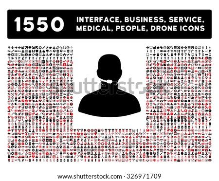 Call Center icon and other web interface, business, tools, people, medical service and awards vector symbols. Style is bicolor flat symbols, intensive red and black colors, rounded angles, white - stock vector