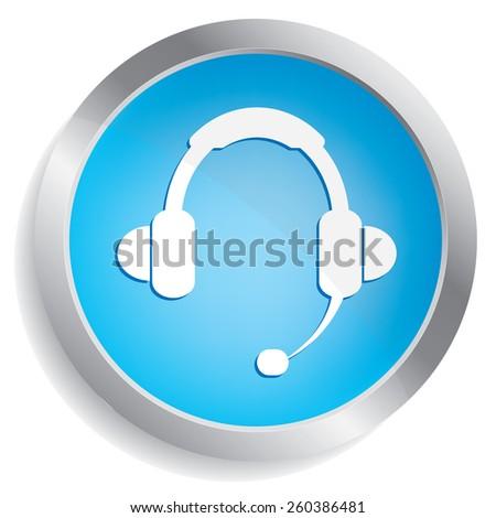 call center icon button - stock vector