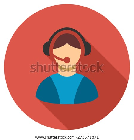 Call center icon. Flat round button with long shadow. - stock vector