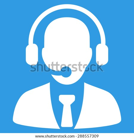 Call center icon from Business Bicolor Set. Vector style: flat symbol, white color, rounded angles, blue background.