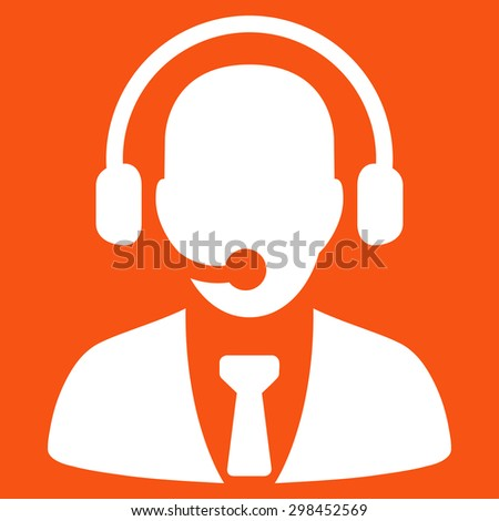 Call center icon from Business Bicolor Set. Vector style is flat symbol, white color, rounded angles, orange background.