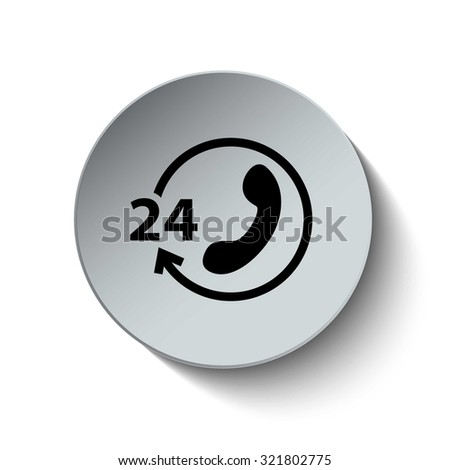 Call center icon. 24 hours service. All-day customer support. Rounded button. Vector Illustration. EPS10 - stock vector