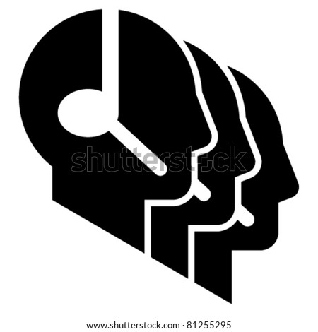 Call center icon. Three head profile silhouettes with headsets - stock vector