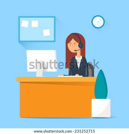 Call center operator sitting at the table in the office. Vector illustration, flat style - stock vector