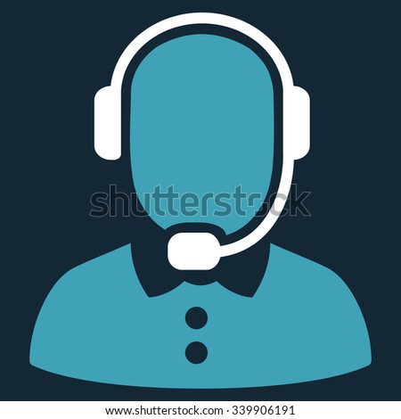 Call Center Operator vector icon. Style is bicolor flat symbol, blue and white colors, rounded angles, dark blue background. - stock vector