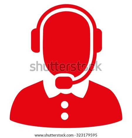 Call Center Operator vector icon. Style is flat symbol, red color, rounded angles, white background. - stock vector
