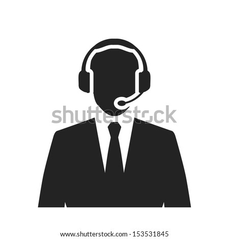call center operator with headset black web icon. vector illustration - stock vector
