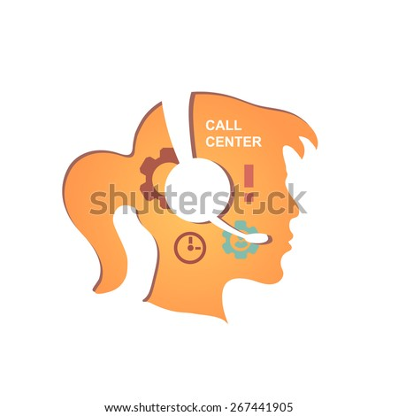 Call center operator with headset icon.  Vector infographics - stock vector