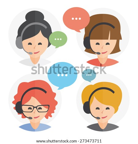 Call center operator with headset web icon design. Female call center avatar set. Client services and communication, customer support, phone assistance, information, solutions. Vector - stock vector