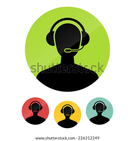 Call center operator with headset web icon. Vector illustration. - stock vector