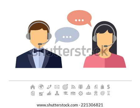 Call center operator with headset web icon. Vector. Male and female call center avatar icons. Client services and communication  - stock vector