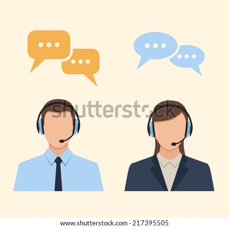 call center operators wearing headsets and speech bubbles. vector concept icons - stock vector