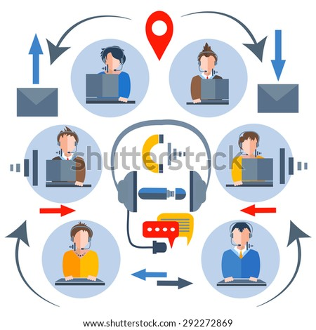 Call center operators with a myriad of gadgets. People in business suits avatars and icons for business theme for mobile applications and the Web. Man woman, girl, boy. Isolated vector illustration - stock vector