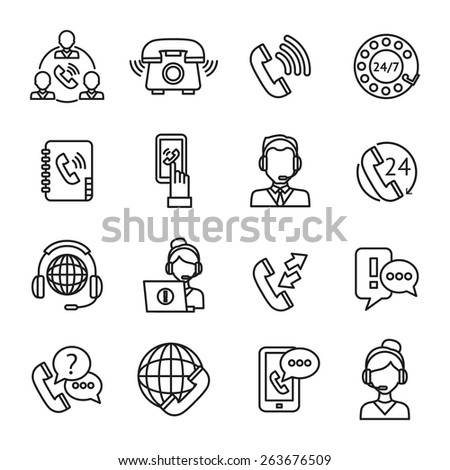 Call center question answer service outline icons set isolated vector illustration - stock vector