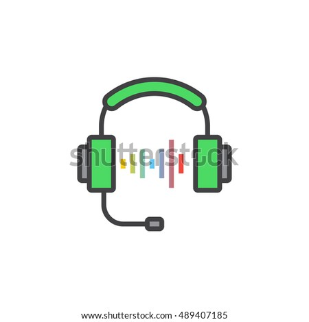 Call center support symbol. Headset line icon, filled outline vector sign, linear colorful pictogram isolated on white